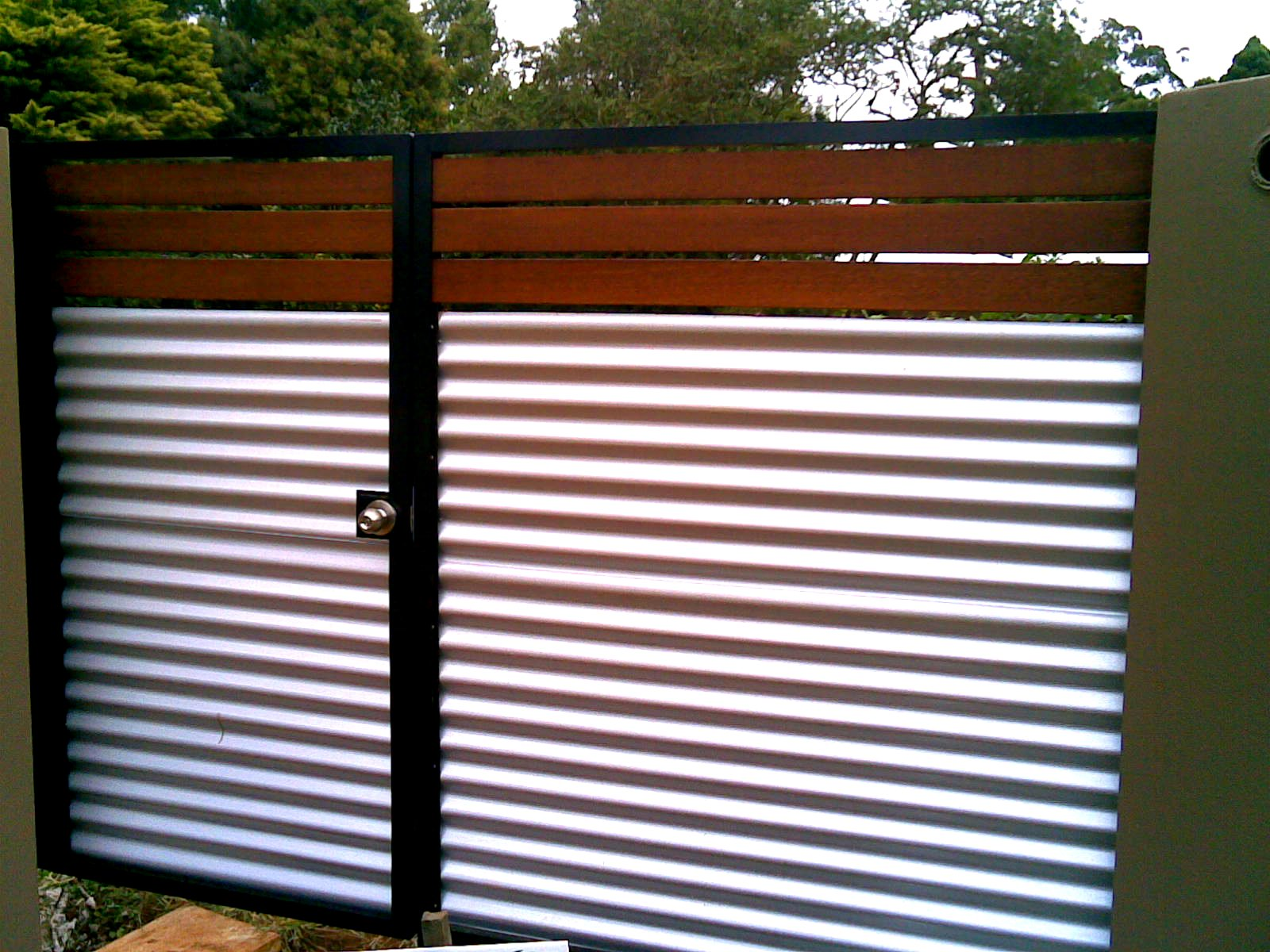 Retaining wall ideas corrugated steel and timber - Gates Amp Fences On Pinterest Fencing Fence And Sliding Gate